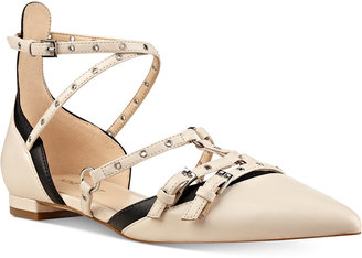 Nine West Aweso Buckle Pointed-Toe Flats Women's Shoes $89 thestylecure.com