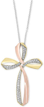 "Effy Diamond Two-Tone Cross 18"" Pendant Necklace (1/6 ct. t.w.) in 14k Gold & 14k Rose Gold"