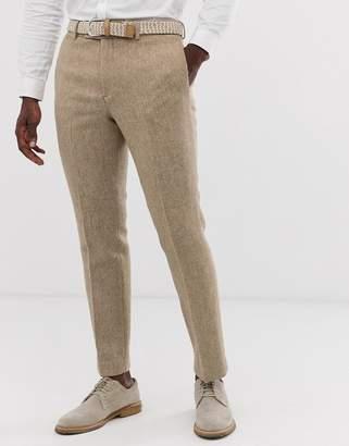Asos Design DESIGN slim suit pants in 100% wool Harris Tweed in camel