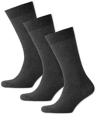 Charles Tyrwhitt Grey Cotton Rich 3 Pack Socks Size Large