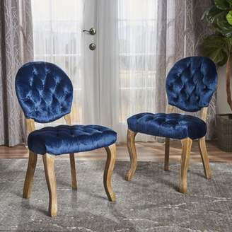 Noble House Adele Tufted Velvet Dining Chairs, Set of 2, Navy Blue, Natural