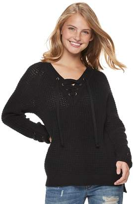 It's Our Time Its Our Time Juniors' Lace-Up Sweater