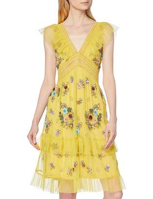 Frock and Frill Women's Gabby Embellished Skater Dress with V Neck Party (Popcorn Yellow) (Size:UK 14)