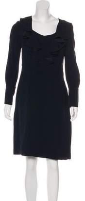 Prada Ruffle-Trimmed Knee-Length Dress