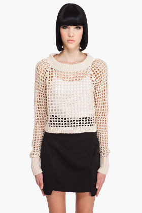 A.L.C. CROP POINTELLE Sweater