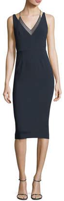 Roland Mouret Newlyn Sleeveless Layered V-Neck Dress