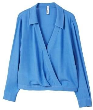 MANGO Wrap v-neckline blouse