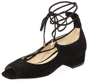 Etienne Aigner Emmie Lace-Up Open-Toe Suede Sandal