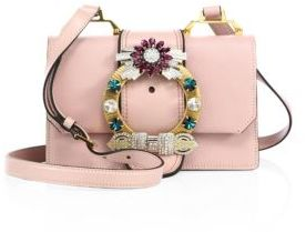 Miu Miu Miu Miu Crystal-Embellished Madras Leather Shoulder Bag
