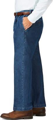 Haggar Stretch Denim Plt Mens Classic Fit Pleated Pant - Big and Tall