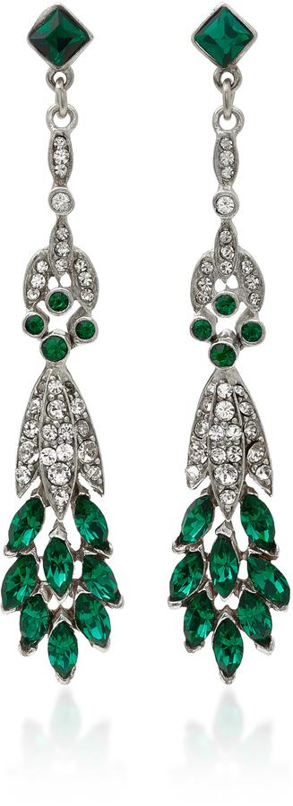 Ben-AmunBen Amun Silver-Tone Crystal and Emerald Earrings