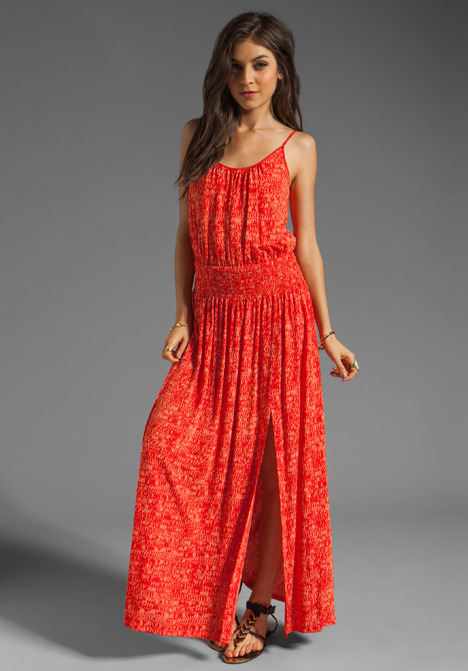 Tracy Reese Printed Jersey High Slit Maxi Slip Dress