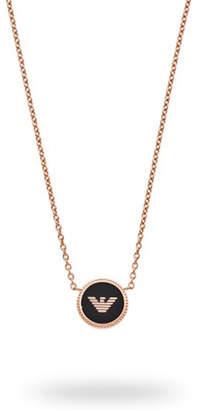 Emporio Armani Rose Gold Tone Black Enamel Logo Pendant
