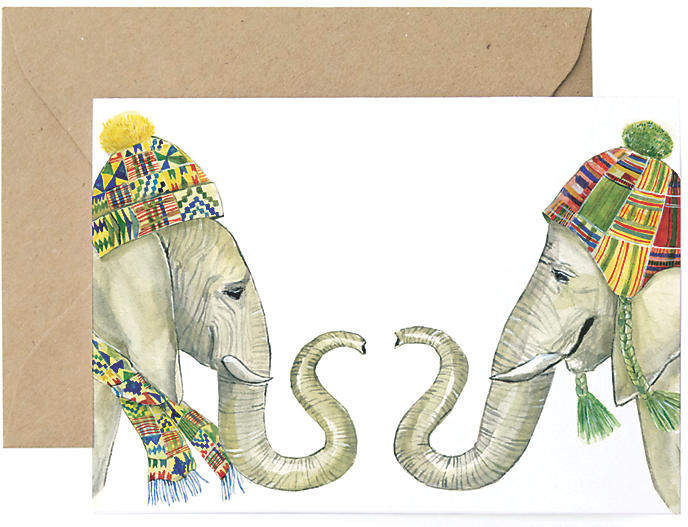 Set of 8 Winter Elephants Holiday Cards