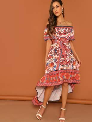 Shein Aztec and Floral Print Off Shoulder Dip Hem Dress
