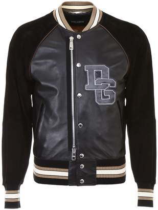 Dolce & Gabbana Leather Bomber Jacket With Patch