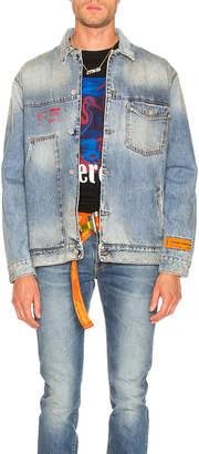 Heron Preston Denim Workwear Jacket in Blue & Red | FWRD