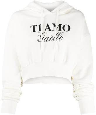 Gaelle Bonheur slogan drawstring hoodie