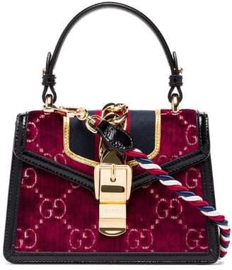 Gucci multicoloured Sylvie mini logo velvet and leather shoulder bag
