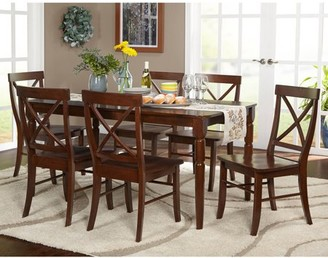 Target Marketing Systems Brown Albury 7-Piece Cross Back Dining Set