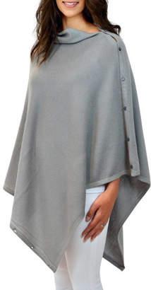 feb4ce808 Thomas Laboratories Mimi & cashmere & leather Grey Personalised Pure  Cashmere Wrap Button Poncho