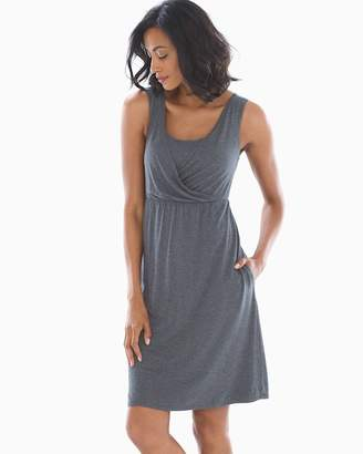 Soft Jersey Surplice Neckline Sleeveless Short Dress