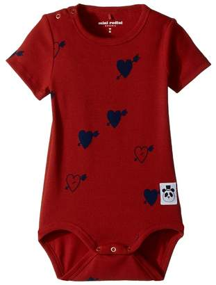 Mini Rodini Heart Rib Short Sleeve Bodysuit Girl's Jumpsuit & Rompers One Piece