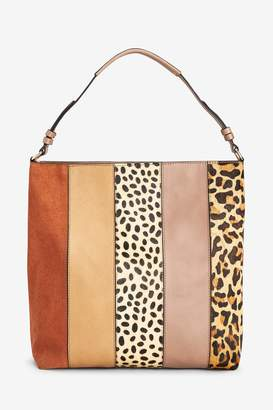 f0da2ff41593 Next Womens Animal Print Leather Colourblock Hobo Bag