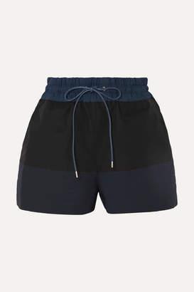 Sacai Two-tone Cotton-blend Twill Shorts - Black