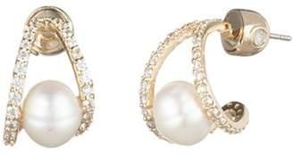 Carolee Cultured Freshwater Pearl Huggie Earrings