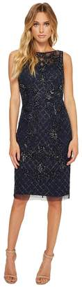 Adrianna Papell Sleeveless Beaded Cocktail Dress with Illusion Women's Dress