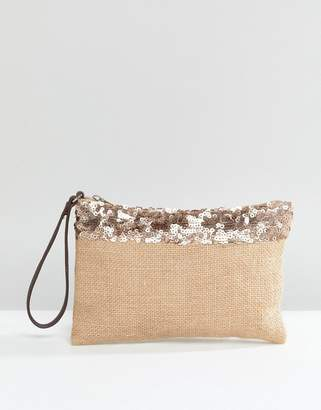 South Beach Jute Clutch With Metallic Trim And Zip