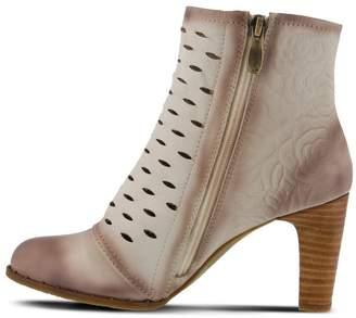 Spring Footwear Embossed Leather Bootie