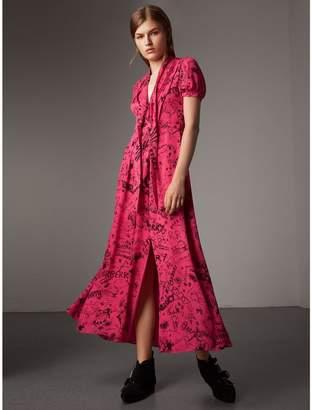 Burberry Doodle Print Silk Tie-neck Dress