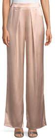Fancy Satin-Back Crepe Pants