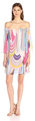 Trina Turk Women's Amaris 2 Rainbow Reflections Georgette Off Shoulder Dress $206.28 thestylecure.com