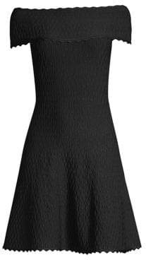 Herve Leger Off-The-Shoulder Scallop Jacquard Dress