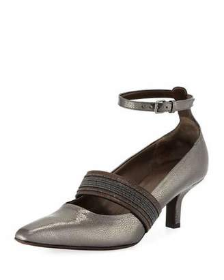 Brunello Cucinelli 55mm Metallic Leather Ankle-Wrap Pumps