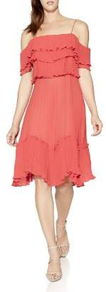 Halston Cold-Shoulder Pleated Ruffle Dress