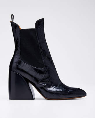 Chloé Wave Croc-Embossed Chelsea Booties