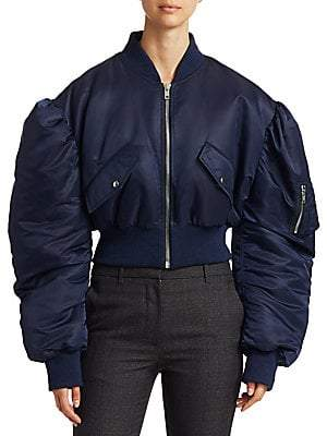 Calvin Klein Women's Satin Crop Bomber Jacket