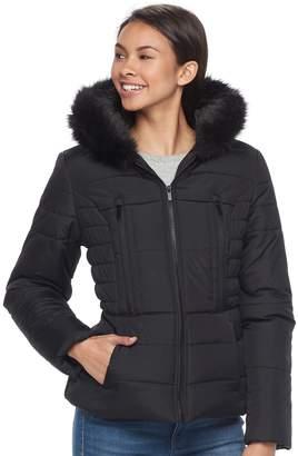 Juniors' Pink Envelope Faux-Fur Hood Zip-Up Puffer Jacket