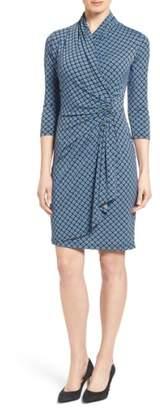 Karen Kane Print Jersey Cascade Faux Wrap Dress