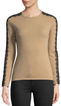 Neiman Marcus Crewneck Cashmere Sweater with Lace Trim