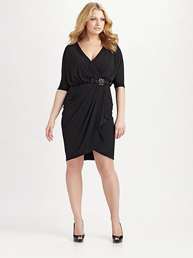 David Meister David Meister, Salon Z Faux Wrap Jersey Dress