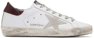 Golden Goose White and Burgundy Superstar Sneakers