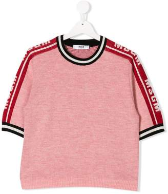 MSGM TEEN logo sleeve knitted top