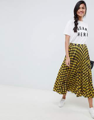 Asos DESIGN yellow check pleated midi skirt