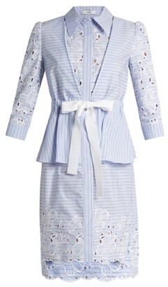 Erdem Zuni Striped Broderie Anglaise Dress - Womens - Blue White