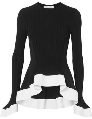 Esteban Cortazar Asymmetric Ribbed-knit Sweater - Black